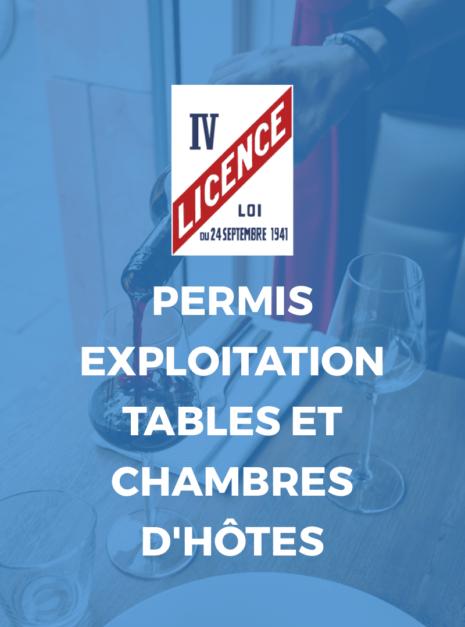 PERMIS EXPLOITATION TABLES ET CHAMBRES HOTES